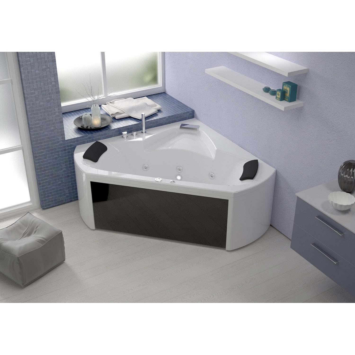 baignoire baln o avec robinetterie angle cm thala massplus leroy merlin. Black Bedroom Furniture Sets. Home Design Ideas