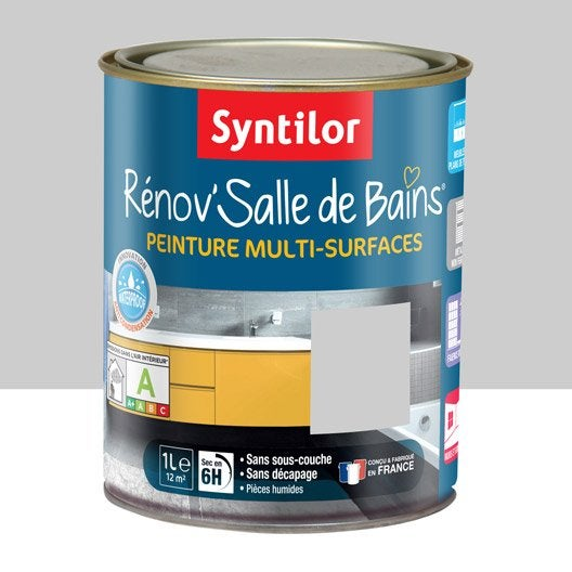 peinture r nov 39 salle de bains syntilor gris galet 1 l leroy merlin. Black Bedroom Furniture Sets. Home Design Ideas