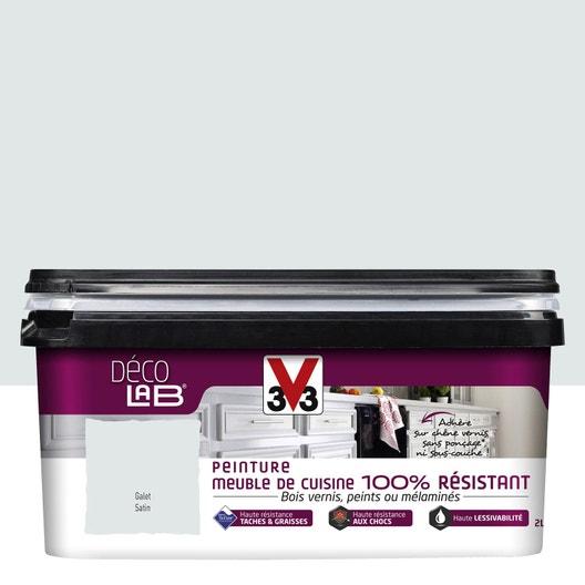 Peinture Décolab meuble de cuisine 100%Résist V33, Gris galet, 2 l ...