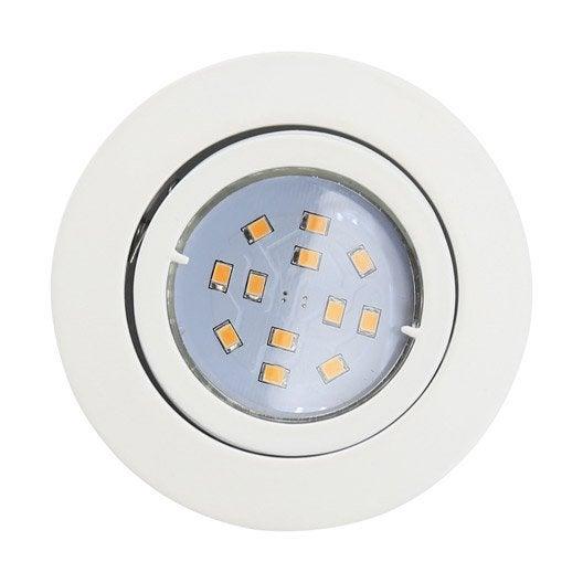 Kit 1 spot encastrer tedo orientable led eglo gu10 blanc for Spot led leroy merlin