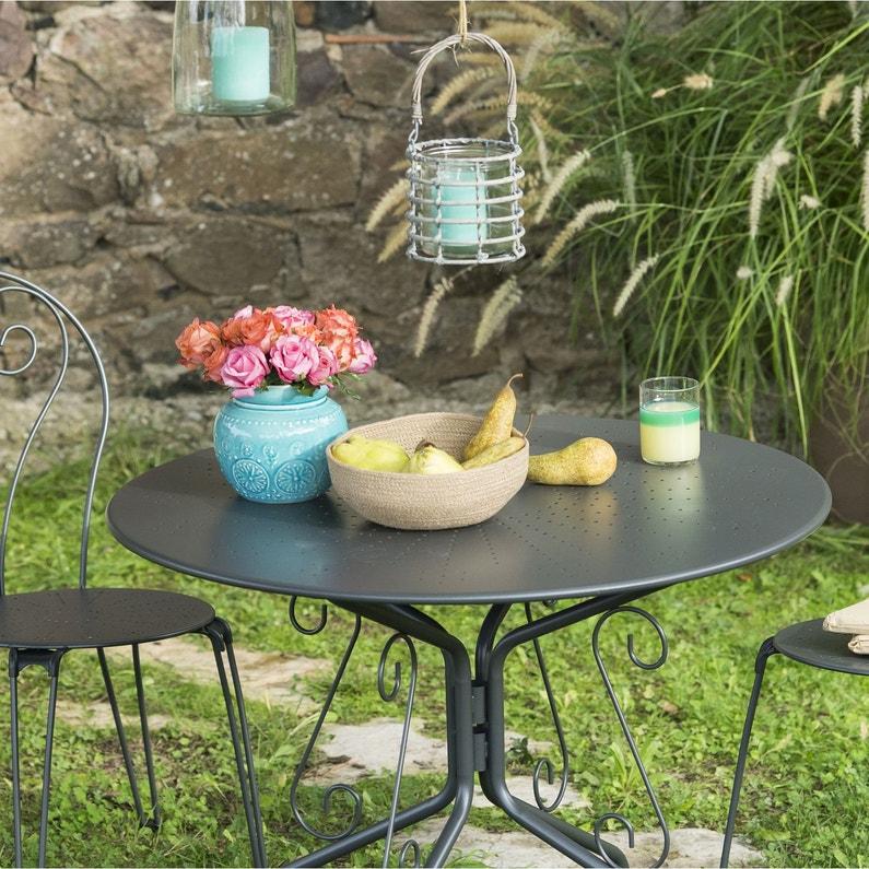 Table de jardin de repas Romantique ronde gris graphite 4 personnes
