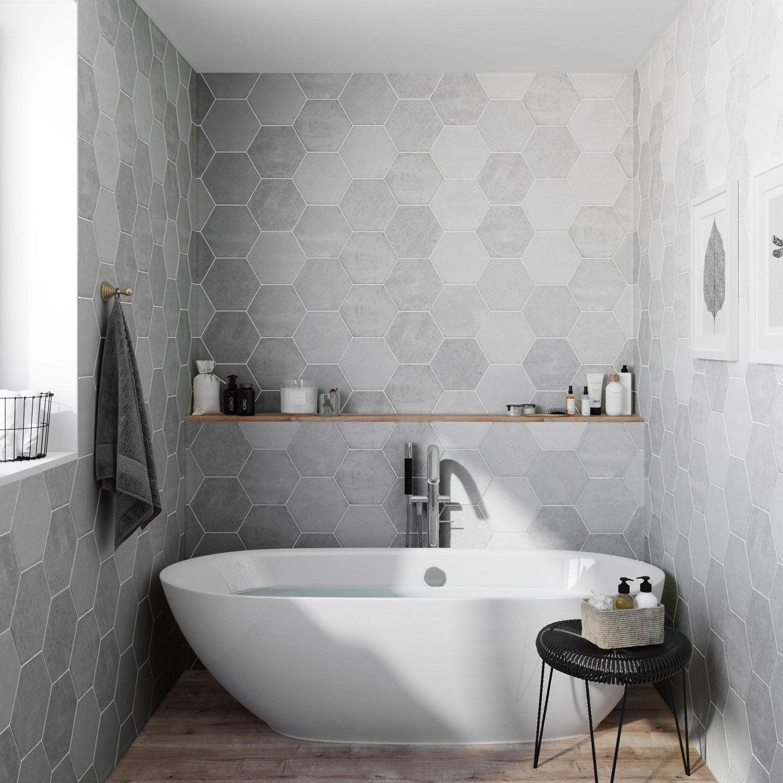 Carrelage sol et mur calcaire, Street hexagone l.21.6 x L.25 cm