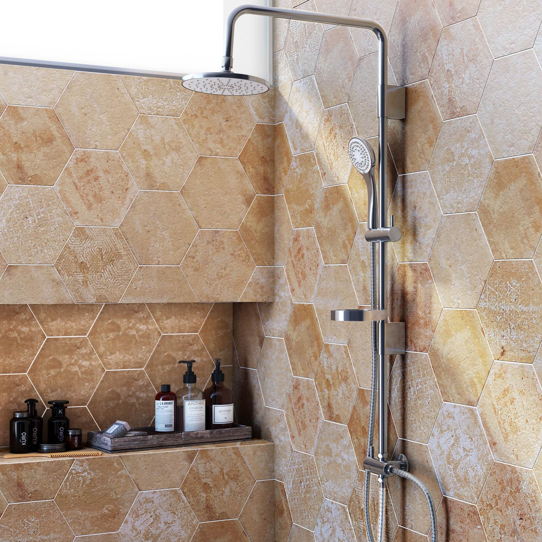 Carrelage sol et mur beige, Street hexagone l.21.6 x L.25 cm