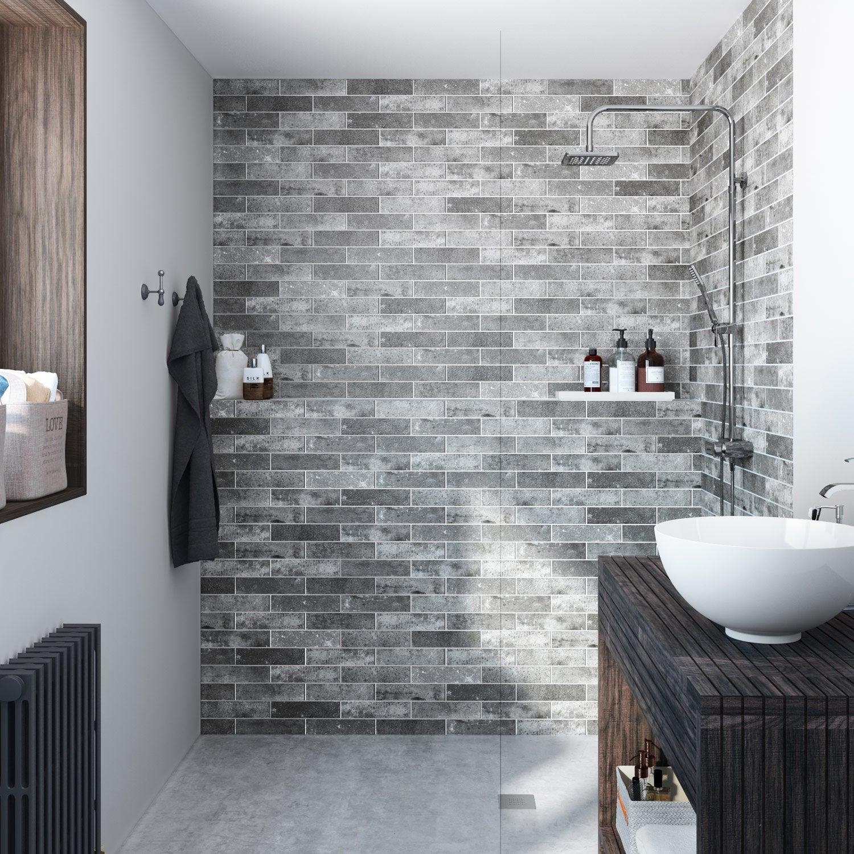 carrelage sol et mur gris indus l 6 x cm leroy merlin. Black Bedroom Furniture Sets. Home Design Ideas
