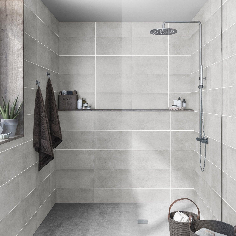 Faïence mur béton gris mat l.25 x L.50 cm, Ogan