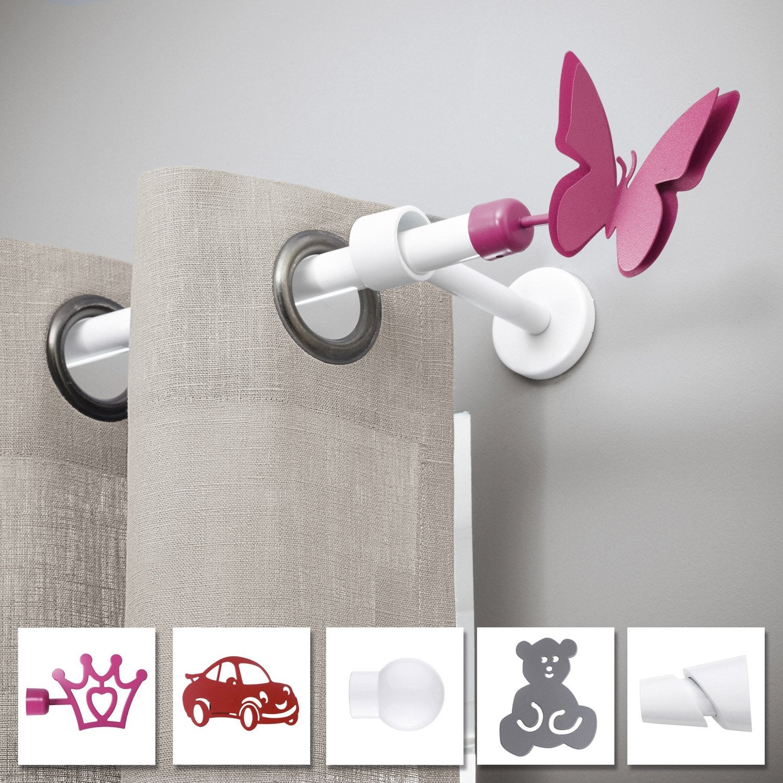 Tringle Extensible Sans Fixation lot de 2 supports sans perçage tringle à rideau city, 20 mm blanc brillant  ib+