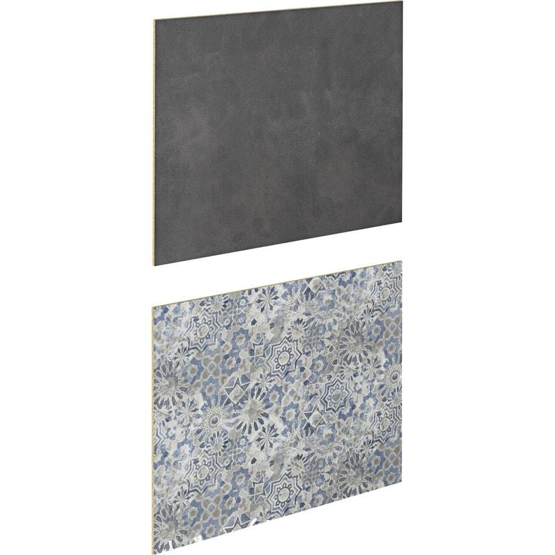 Crédence stratifié Effet cuir marron/carreaux bleu H.64 cm x Ep.9 mm x  L.300 cm
