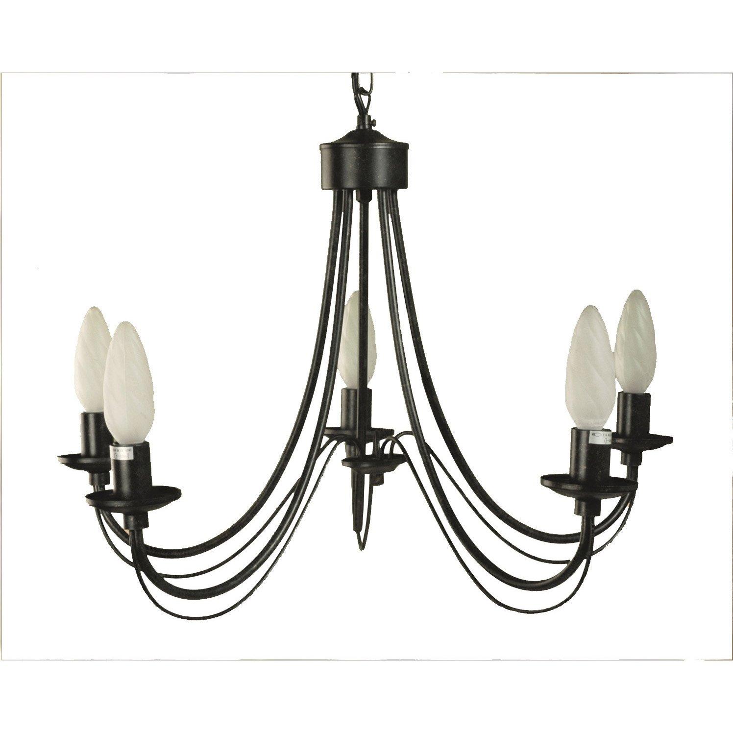 lustre e14 classique chic paimpol m tal rouille 5 x 40 w seynave leroy merlin. Black Bedroom Furniture Sets. Home Design Ideas