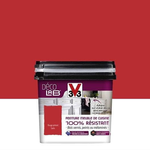 peinture décolab meuble de cuisine 100%résist v33, rouge piment