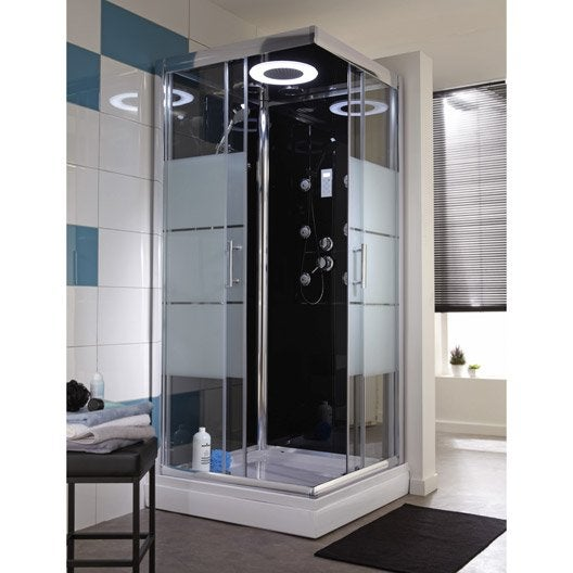 Cabine de douche carr 80x80 cm optima2 noire leroy merlin for Carrelage 80 x 80