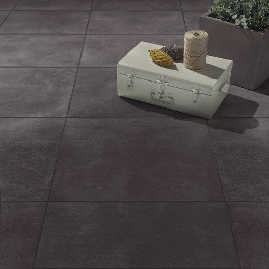 Carrelage sol gris smoke effet b ton live x cm for Carrelage gris beton