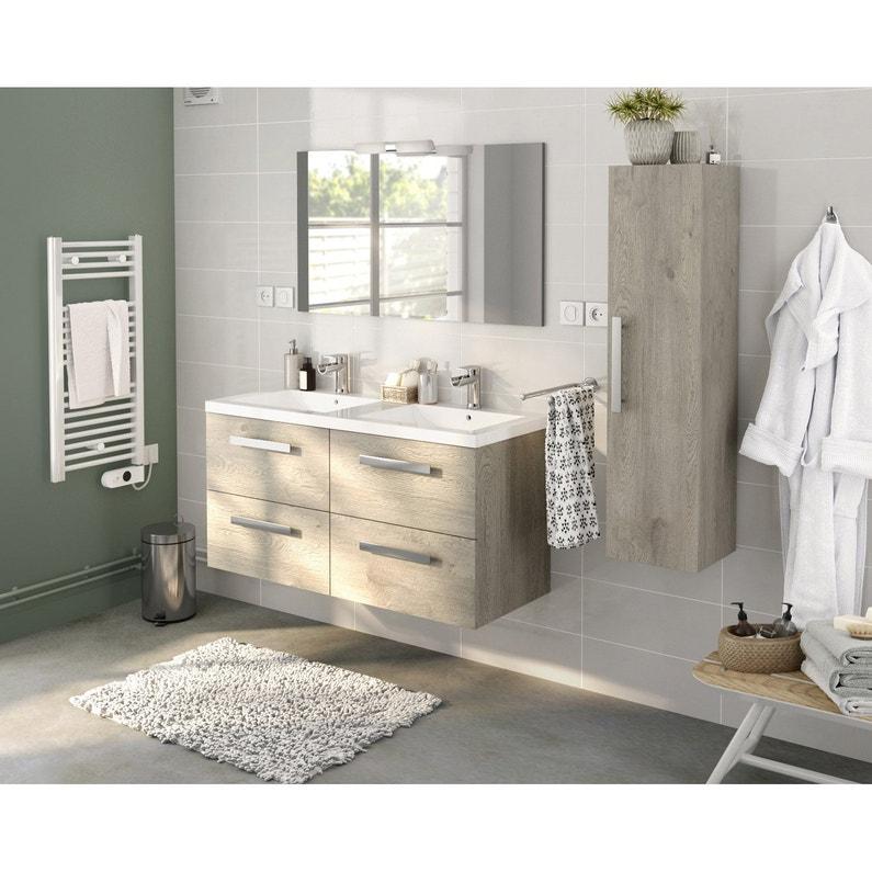 Plan vasque double céramique l.121 x P.46 cm blanc Promo | Leroy Merlin