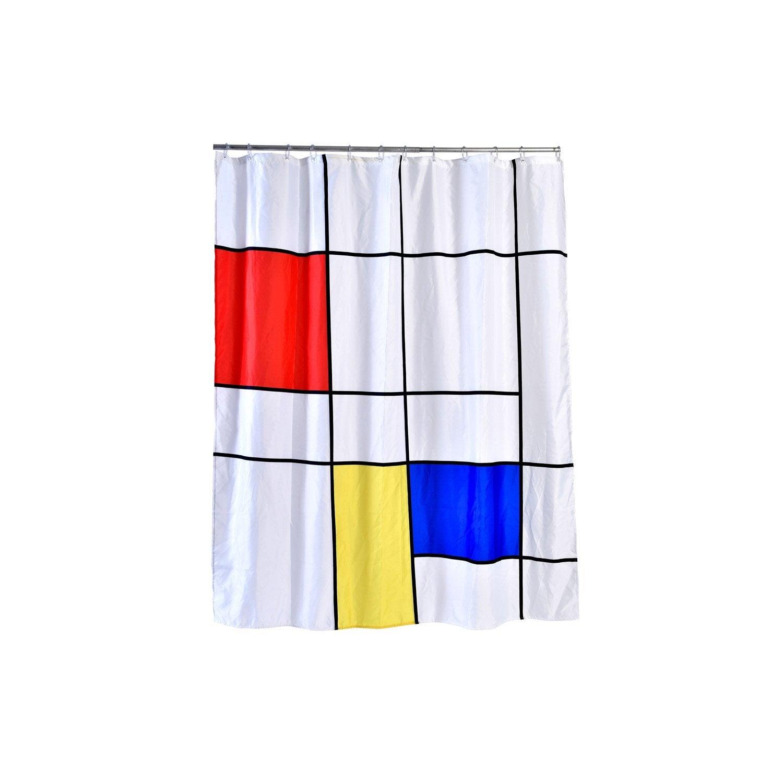 Rideau de douche en textile multicolore l.180 x H.200 cm, Colorkub SENSEA
