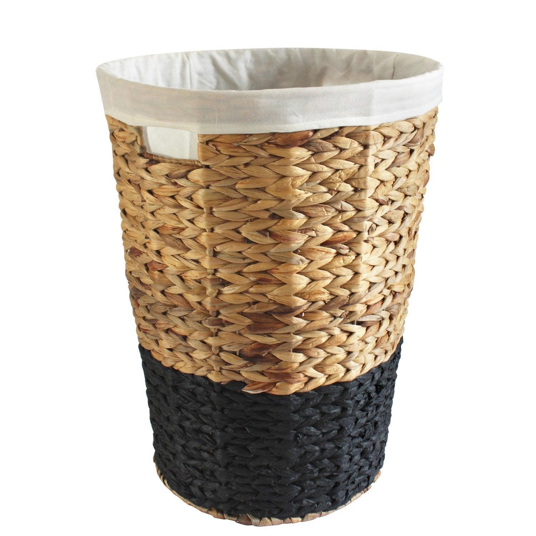 Panier à linge fibre végétale Nolita, noir, l.40 x H.52 x P.40 cm