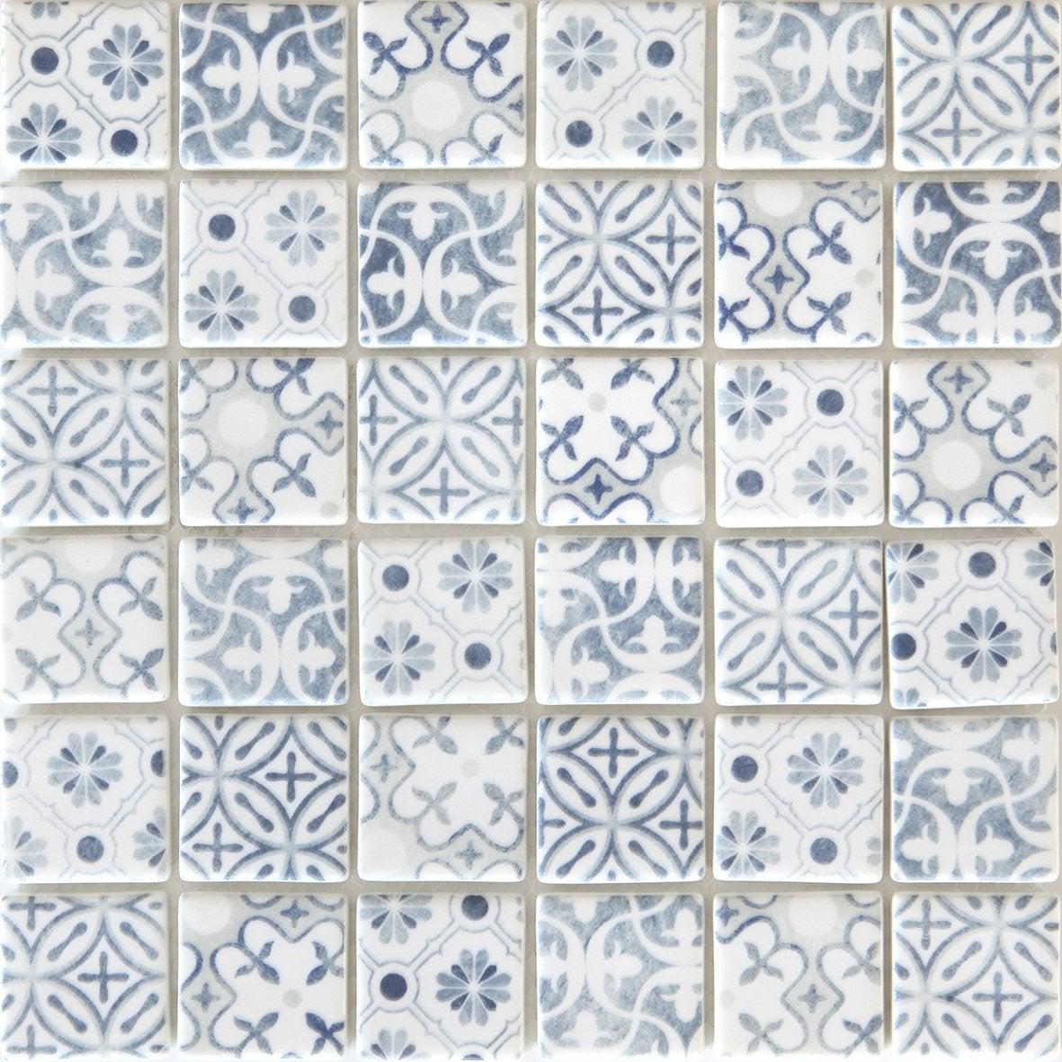 mosa que mur graphik cement bleu gris leroy merlin. Black Bedroom Furniture Sets. Home Design Ideas