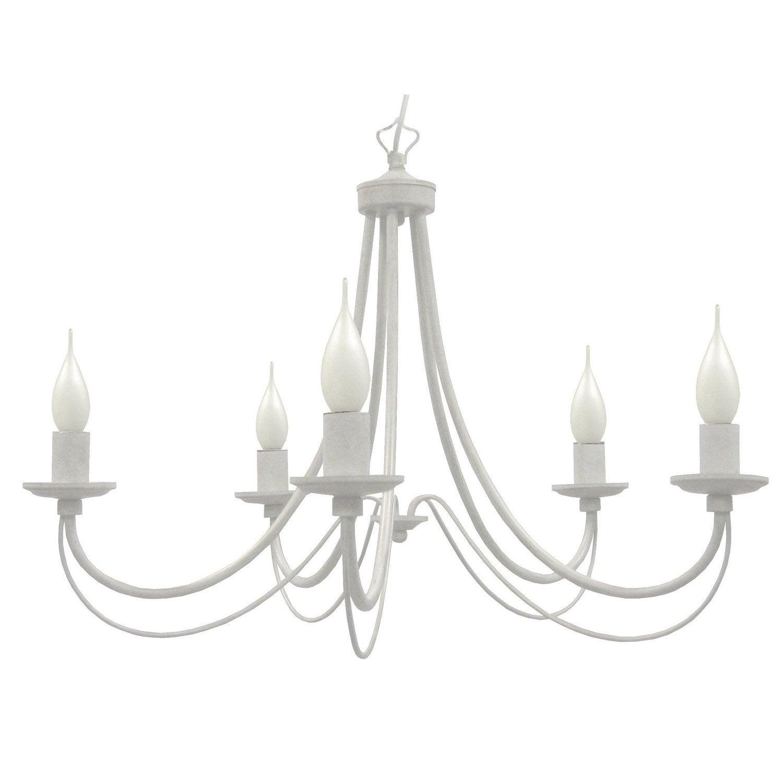 Lustre, e14 baroque Paimpol métal blanc 5 x 40 W SEYNAVE