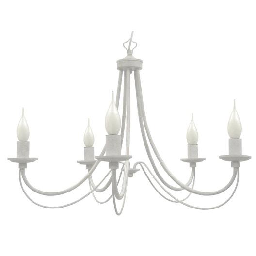 Lustre e14 baroque paimpol métal blanc 5 x 40 w seynave