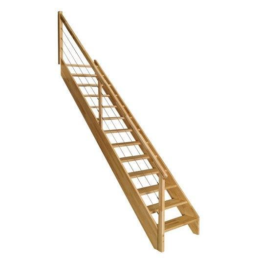 Escalier droit urban c ble structure bois marche bois - Marche escalier leroy merlin ...