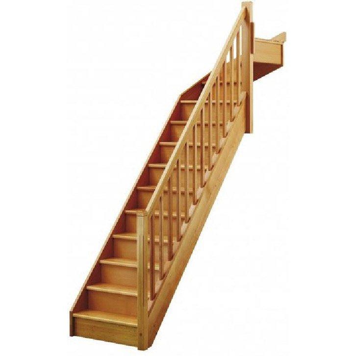 Escalier 1 4 Tournant Haut Droit Bois Hêtre Soft Classic 13 Marches Hêtre L 80