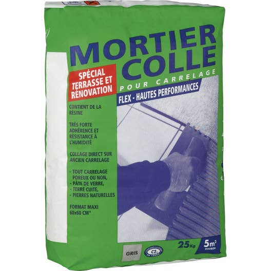 Mortier colle flex gris 25 kg leroy merlin for Ragreage exterieur prix