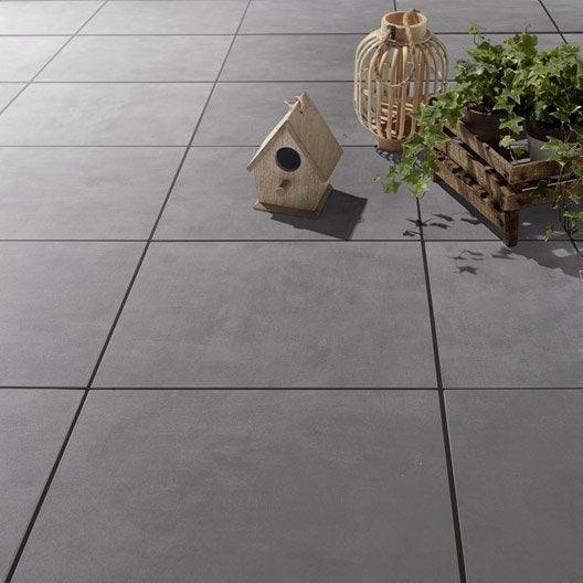 Carrelage sol gris poivré effet béton Kiosque l.45 x L.45 cm