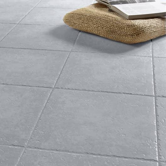 Carrelage sol gris effet pierre michigan x cm leroy merlin - Carrelage gris exterieur ...