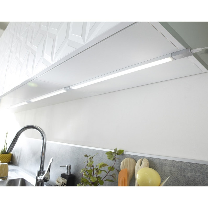 Extension Reglette A Fixer Plate Led Integree 55 Cm Rio Inspire 6 W Gris