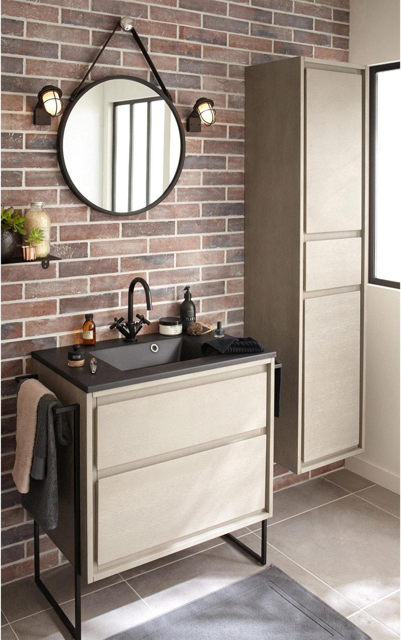 Meuble simple vasque l.20 x H.20 x P.20 cm, effet chêne grisé, Nordic