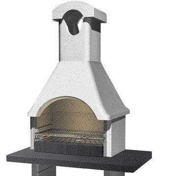 Barbecue en béton gris clair, à crépir Ginevra, l.64 x L.114 x H.210 cm