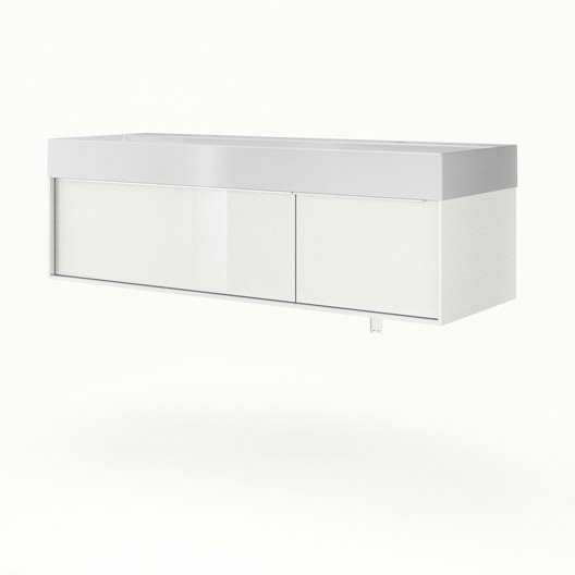 Meuble vasque 135 cm blanc neo frame leroy merlin - Meuble salle de bain 135 cm ...