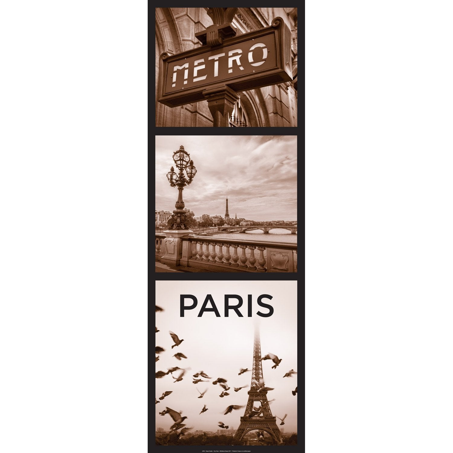 Affiche Paris city  l.96 x H.35 cm