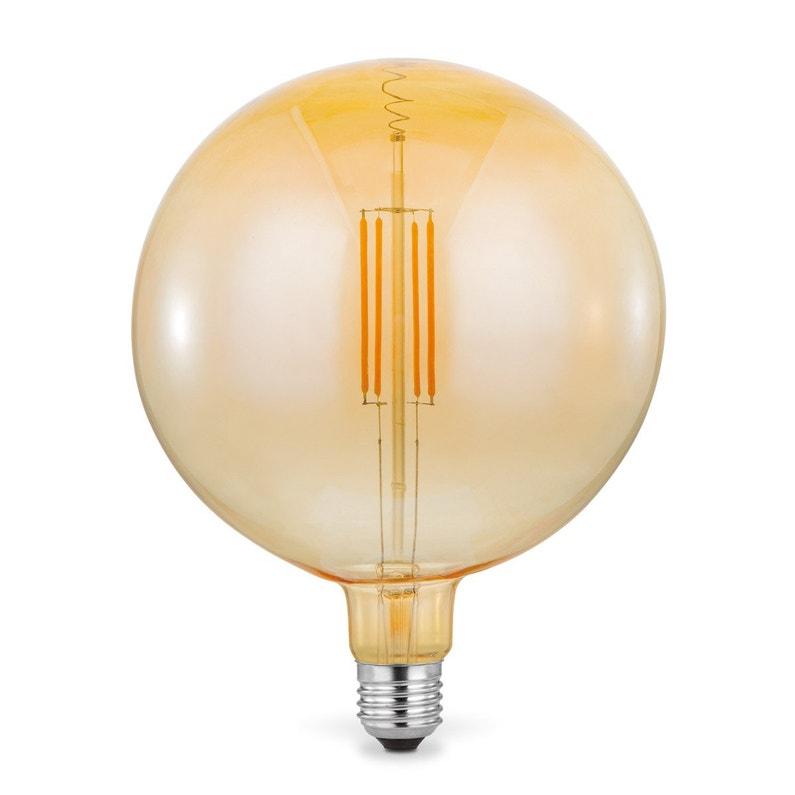 Ampoule Décorative Led Ambré Globe 20cm E27 200lm 35w Blanc Chaud Sampa Helios