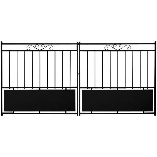 portail coulissant acier balisarde noir cm x cm leroy merlin. Black Bedroom Furniture Sets. Home Design Ideas