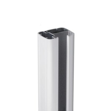 Poteau aluminium en h gris, H.115 x l.6.5 x P.5 cm