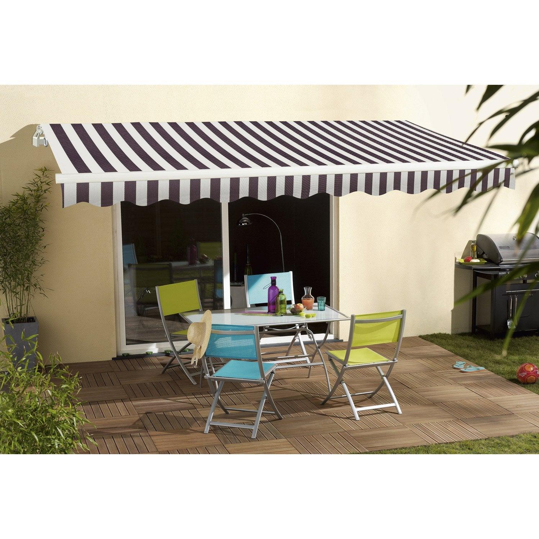 store banne manuel sunlight 2 sans coffre 3 x 2 m blanc gris leroy merlin. Black Bedroom Furniture Sets. Home Design Ideas