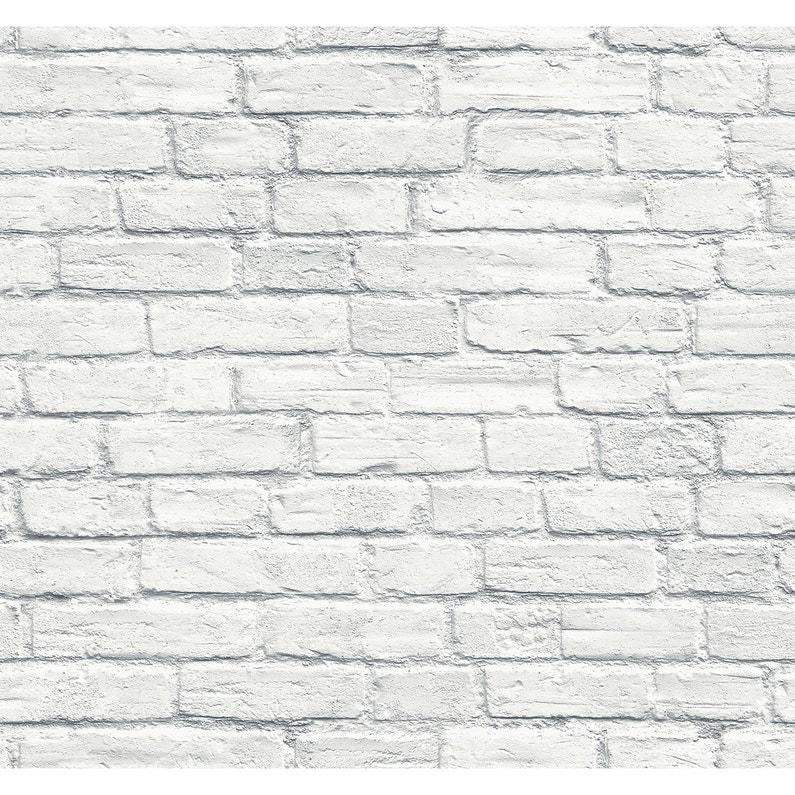 Papier Peint Vinyle Brique 3d Blanc Leroy Merlin