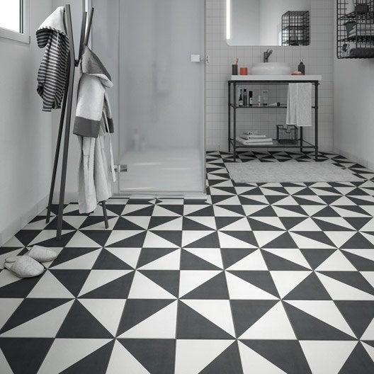 great carrelage sol et mur noir blanc effet ciment dment l x l with coupe carrelage electrique. Black Bedroom Furniture Sets. Home Design Ideas