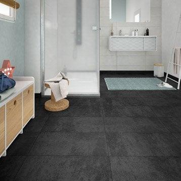 Carrelage sol et mur noir effet béton Emotion l.30 x L.60.4 cm