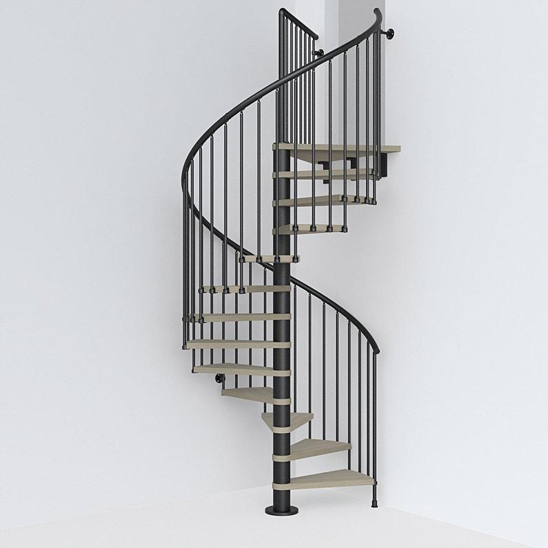 Escalier Colimacon Rond Ring Structure Acier Marche Bois Leroy Merlin