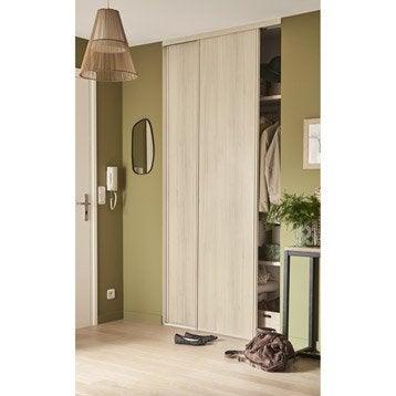 Aménagement et portes de placard coulissante acacia EKIPA l.120 x H.250 cm