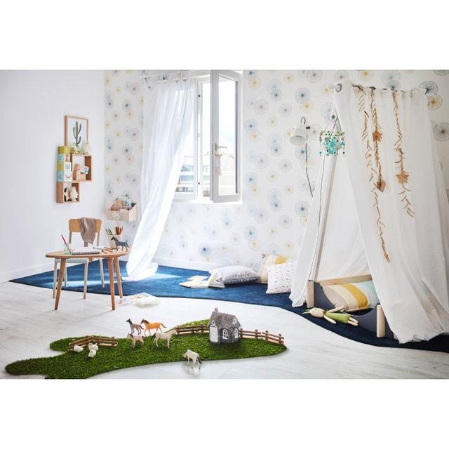 Une chambre adulte aux teintes de bleu et au style - Papier peint contemporain chambre ...
