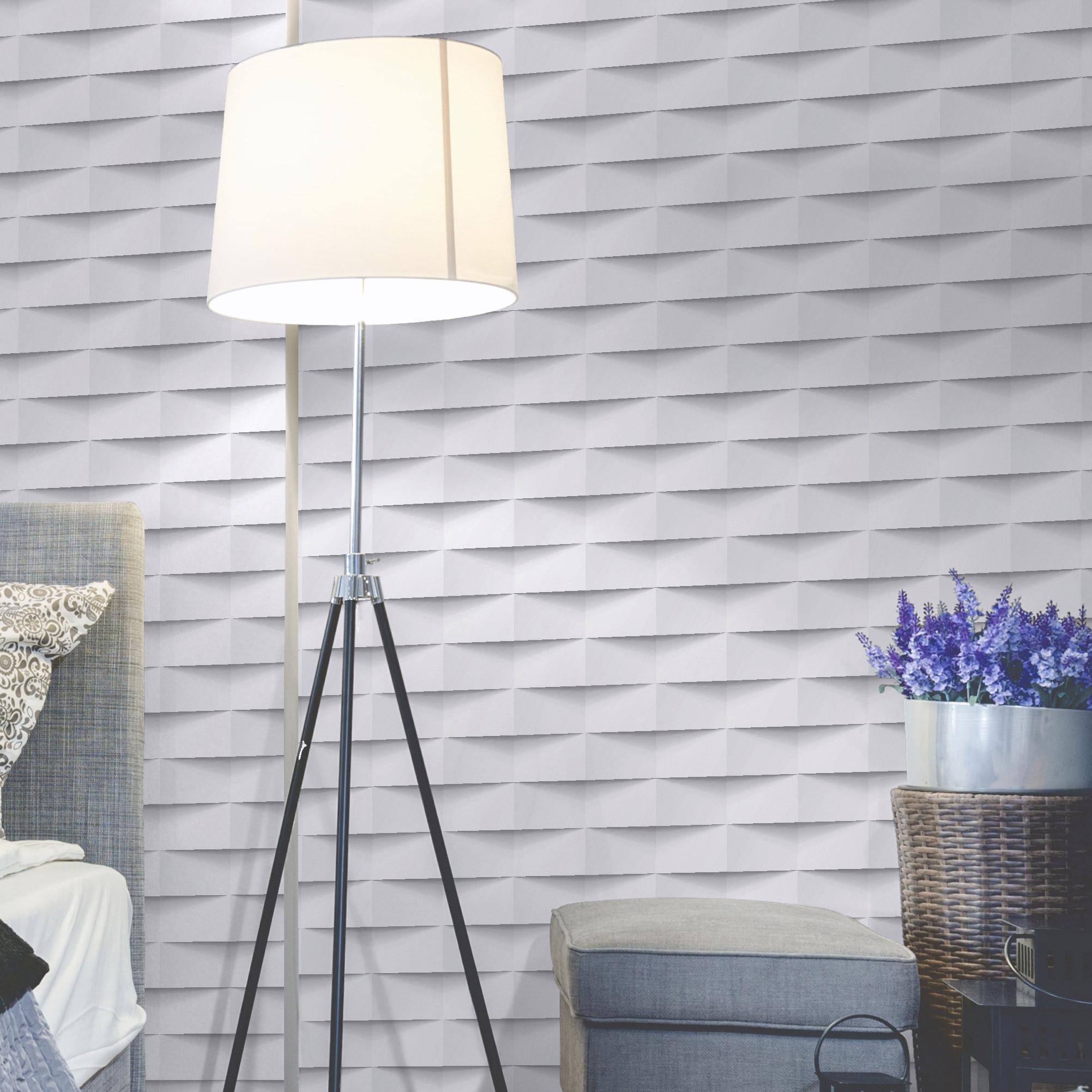 Papier peint vinyle sur intissé 3d origami blanc