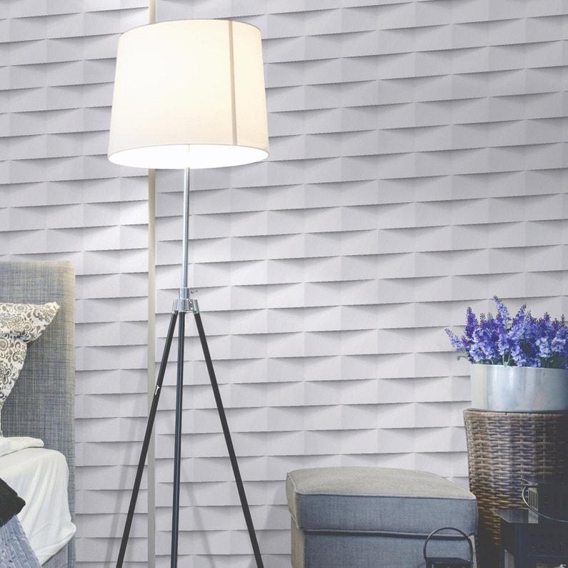 Papier Peint Intisse 3d Origami Blanc Leroy Merlin