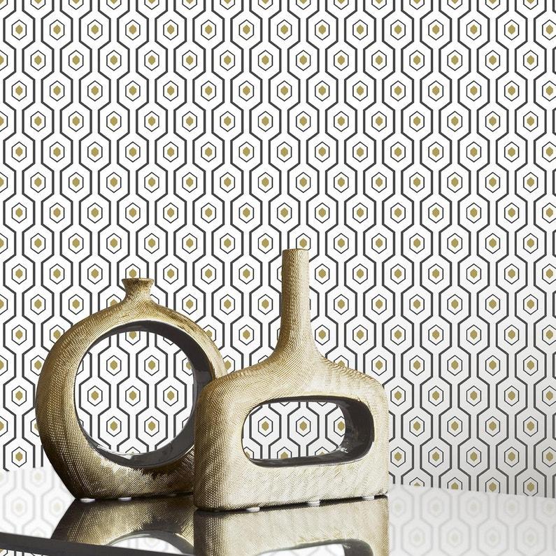 Papier Peint Expansé Ashton Velour Blanc Et Noir
