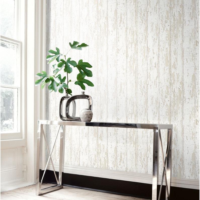 Papier Peint Vinyle Planche Bois Blanc Ecaille Leroy Merlin