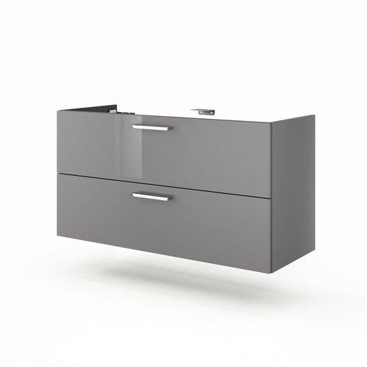 Meuble de salle de bains plus de 120 gris argent neo for Meuble sous vasque 100 cm