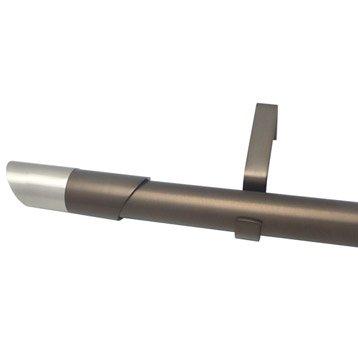 Kit de tringle à rideau extensible Nordik Diam. 25/28mm moka mat 120/210cm métal
