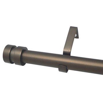 Kit de tringle à rideau extensible Axel écrou Diam. 16/19 mm moka mat 120/210 cm