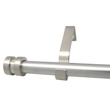 Kit de tringle à rideau extensible Axel écrou Diam. 16/19 mm gris mat 160/300 cm
