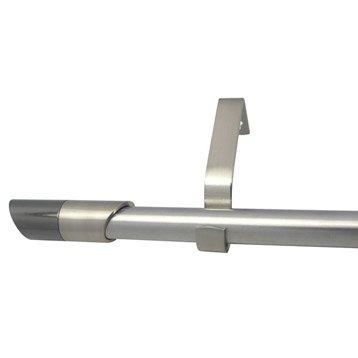 Kit de tringle à rideau extensible Nordik Diam. 16/19mm gris mat 120/210cm métal
